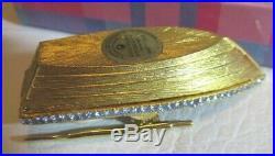 2002 Estee Lauder Gold Crystal Enhanced Solid Pleasures Perfume Compact