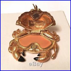 2008 Estee Lauder Sand Crab Enamel Crystal Solid Perfume Compact BOX