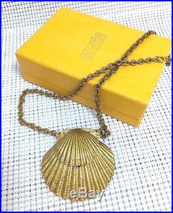 ESTEE LAUDER AZURE VINTAGE 1972 RUNWAY SOLID PERFUME NECKLACE COMPACT Orig. BOX