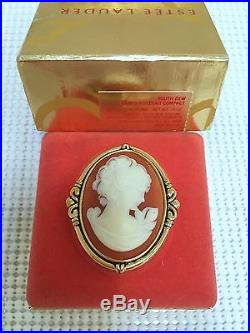 ESTEE LAUDER CORAL CAMEO VINTAGE SOLID PERFUME COMPACT in Orig. BOX 1986