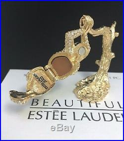 ESTEE LAUDER JEWELED CHIMP CHARMING MONKEY SOLID PERFUME COMPACT NECKLACE in BOX