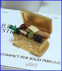 ESTEE LAUDER PICNIC BASKET COMPACT w BEAUTIFUL SOLID PERFUME Orig BOXES RARE