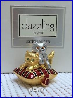 ESTEE LAUDER PLAYFUL KITTENS 1999 SOLID PERFUME CAT COMPACT in Orig. BOX MIB