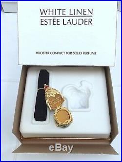 ESTEE LAUDER ROOSTER SOLID PERFUME COMPACT with WHITE LINEN in Orig. BOXES RARE