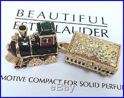 ESTEE LAUDER STEAM LOCOMOTIVE w DIAMONDS SOLID PERFUME COMPACT in Orig. BOXES
