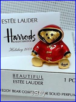 Estee Lauder 1/400 Harrods Bear William Solid Perfume Compact 2003 Ultra Rare