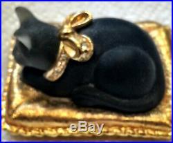 Estee Lauder Black Cat's Meow Solid Perfume Compact Beautiful Fragrance 1-1/4