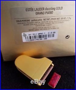 Estee Lauder Dazzling Gold Grand Piano Compact For Solid Perfume New