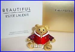 Estee Lauder Harrods Xmas Bear Beautiful Solid Perfume Compact 2017 Ltd Ed Nib