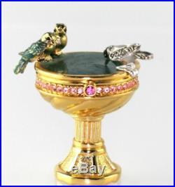 Estee Lauder Pleasures BIRDBATH solid perfume enameled/crystals compact 2001 MIB