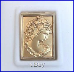 Mib Estee Lauder Repousse Metalwork Gold-plated Cameo Solid Perfume Compact