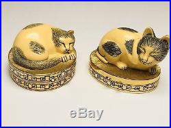 NEW RARE 1980s Vintage Estee Lauder Sleeping Cat Cinnabar Solid Perfume Compact