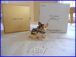 Rare Estee Lauder 2009 Blue Ribbon Bulldog Solid Perfume Compact Dog Signed Mibb