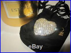 Vtg. Full Estee Lauder Sparkling Heart Necklace Pendant Solid Perfume Compact